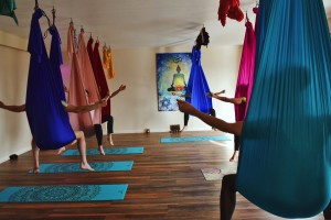 aerial yoga display